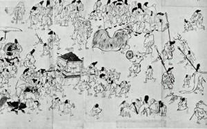 La châsse du kami précédée des porteurs de hallebarde.