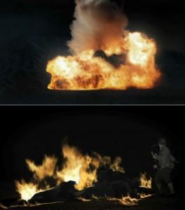 Clip-art de char en flammes.