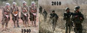 Evolution des uniformes français.
